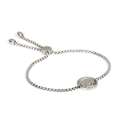 SXNK7 Stainless Steel Gold Plated Dragonfly Bracelet with Dangling Peace Circle Gift for Women (Lucky Cute Elephant Bracelet) (Dangling Dragonfly Bracelet)