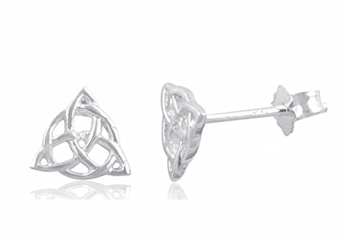Sterling Silver Celtic Triquetra Stud Earrings - - Earrings Celtic Silver Knot Sterling