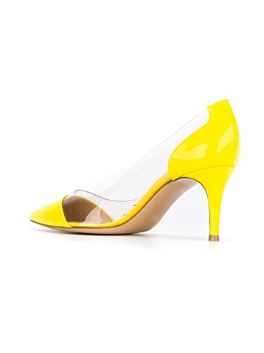 Yellow Transparent Schuhe Damenschuhe Heels Party Pumps Rutsch Mid EDEFS Hochzeit Kitten Heel x7IfqxP