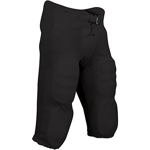 CHAMPRO Youth Integrated Pant with Built-in Pads, Black, Medium