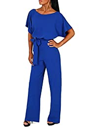 1477aef3eaa0 Women s Summer Short Sleeves Elegant Playsuit Wide Leg Jumpsuit Romper with  Belted