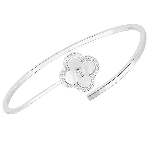 - Unique Royal Jewelry Solid 925 Sterling Silver Cubic Zirconia Open Four Leaf Clover Flexible Cuff Bangle. (White)