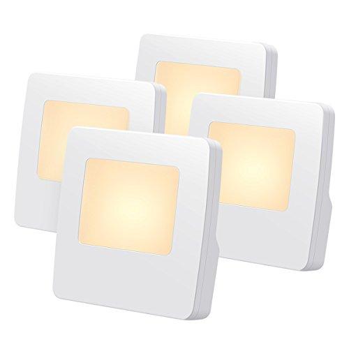 AMIR Plug-in Night Light, Warm White LED Nightlight with Auto Dusk to Dawn Sensor, Energy Efficient Night Lamp for Bathroom, Hallway, Nursery, Stairway, Kitchen, UL Listed Plug (4 Packs) by AMIR