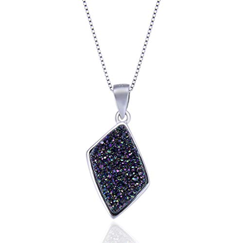WANZIJING Genuine Druzy Pendant, 925 Sterling Silver Natural Crystal Necklace Charm Healing Jewelry Gifts for Her,16''