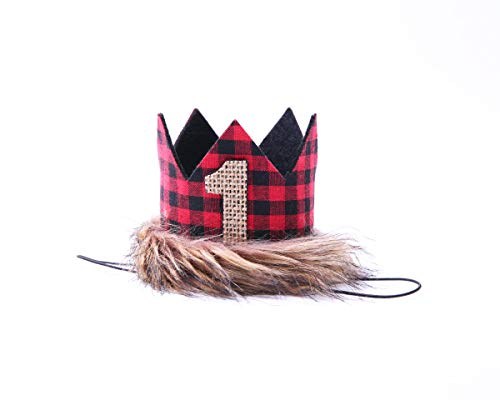 Lumberjack Crown For 1st Birthday - First Birthday Hat For Lumberjack, Buffalo Check Plaid Party, Red Black Tan Wilderness Birthday Crown, Camping Birthd