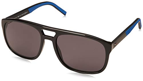 Tommy Hilfiger Men's Th1603s Square Sunglasses, Black & Blue, 56 ()