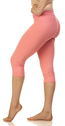 (Lush Moda Yoga Pants | Capri Leggings for Women, High Waisted, Solid Colors, Stretch, Super Soft - Mellow Pink)