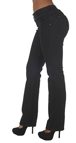 N625BT-P- Plus Size, Butt Lifting, Levanta Cola, Mid Waist, Boot Leg Jeans in Black Size 16 - High Waisted Wide Leg Jean