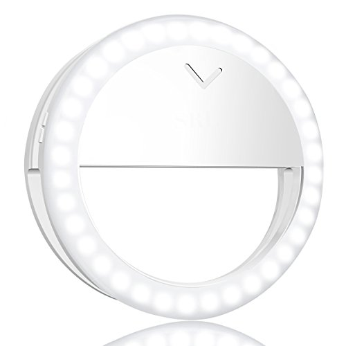 Avanz Selfie Ring Light, Rechargeable Clip-on Selfie Lighting with 40 LED, 4-Level Adjustable Brightness, White & Warm White, On-Camera Video Light Night Light for iPhone, Samsung, Smartphone
