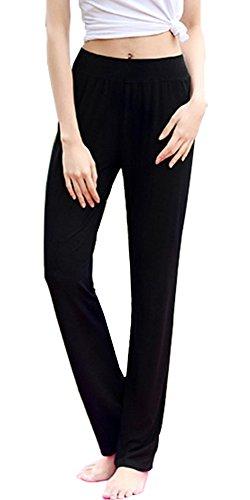 SL Women's Yoga Pants Workout Running Stretch Boot Leg Yoga Pants Black (Girls Flare Leg Twill Pants)