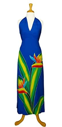 1 World Sarongs Womens Long Dress with Bird of Paradise Design Royal Blue - XL