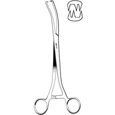 Sklar Instrument 91-3795 Segond (Collin) Forceps, 4 x 4 Teeth, Curved on Flat, 9-1/2''