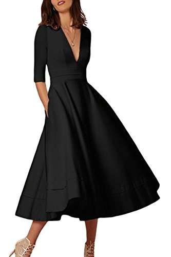 YMING Elegant Half Sleeve Cocktail Dress for Women Retro Evening Prom Grow Dress Black L ()