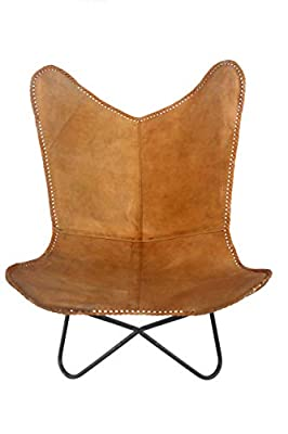 Classic Genuine Tan Leather Arm Chair Cover Star Butterfly Leather Chair Home Decor - Only Cover
