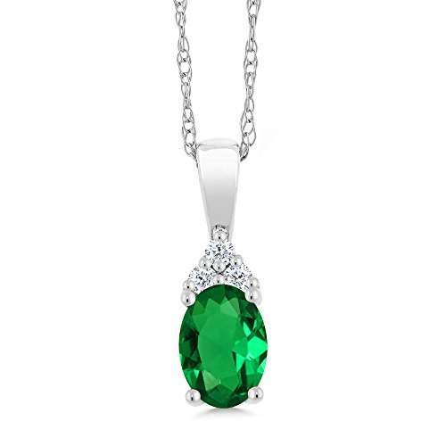 Gem Stone King 10K White Gold Pendant and 18inches Chain Green Nano Emerald with Diamond Accent