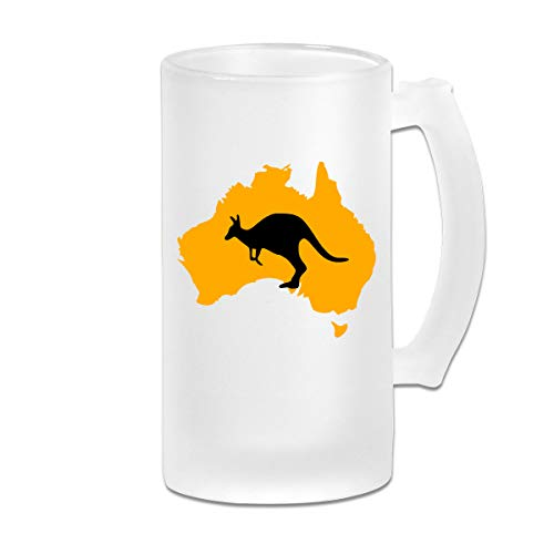 Negi Kangaroo Australia Map 16 Oz Frosted Glass Stein Wine Beer Mug Wedding Gift]()