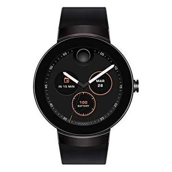 Movado Connect Digital Smart Module Black PVD Smartwatch, Black/Black Strap (Model 3660018) (Renewed)