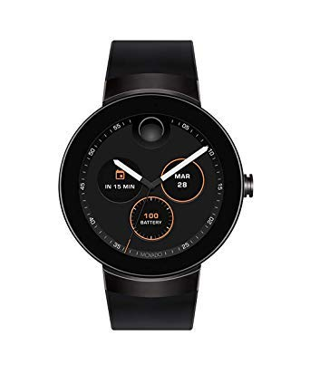 Movado Connect Digital Smart Module Black PVD Smartwatch, Black/Black Strap (Model 3660018) (Renewed)