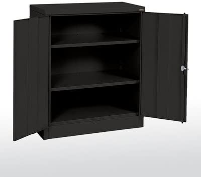 Amazon Com 2 Door Storage Cabinet Finish Black Modular Storage Systems Office Products