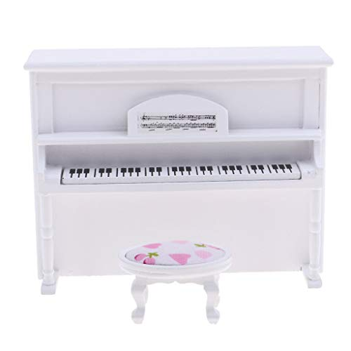 NATFUR 1:12 Miniature Upright Piano with Stool Set Dolls House Accessories White ()