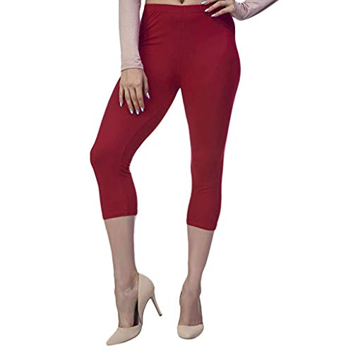 (Ricadocar Women Pants, Summer Solid Color High Stretch Leggings Fitness Pants Cycling Shorts Seven Points Trousers Red)
