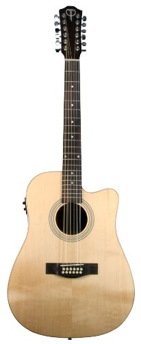 (Teton Dreadnought Acoustic Electric 12 String Cutaway Guitar, Solid Spruce Top, Mahogany Back and Sides)