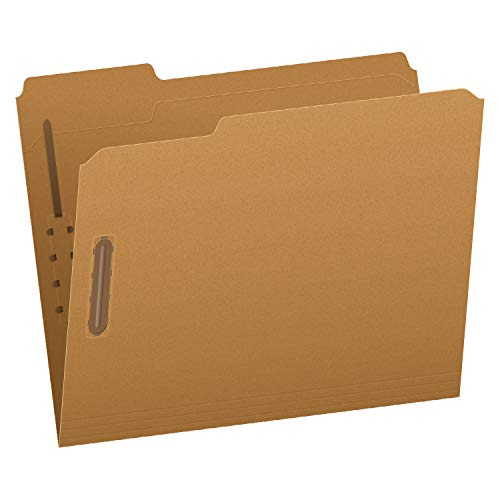 Pendaflex Fastener Folders, 2 Fasteners, Letter Size, Kraft, 1/3 Cut Tabs, in Left, Right, Center Positions, 50 Per Box (FK212)