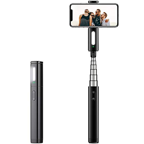 Bluetooth Selfie Stick, DASEN Extendable Wireless Phone Stick Compact Monopod with Fill Light for iPhone 8 Plus/Xs Max/XR/7/6s, Galaxy Note 9/S10/S9, Huawei, LG, More iOS & Android Cell Phone