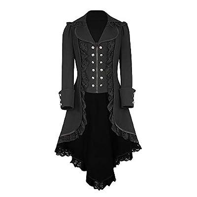 NUWFOR Tuxedo Gothic Tailcoat Jacket Steampunk VTG Victorian Coat Wedding Uniform for Winter/Fall White