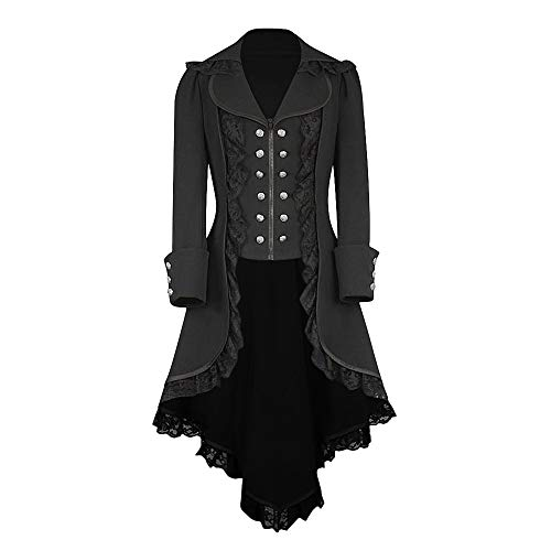 Button Front Crinkle Shirt Chiffon (PASATO 2018 Women Long Sleeve Retro Lace Trim Button Up Vintage Irregular Tailcoat Outwear Clearance(Black,XL=US:L))