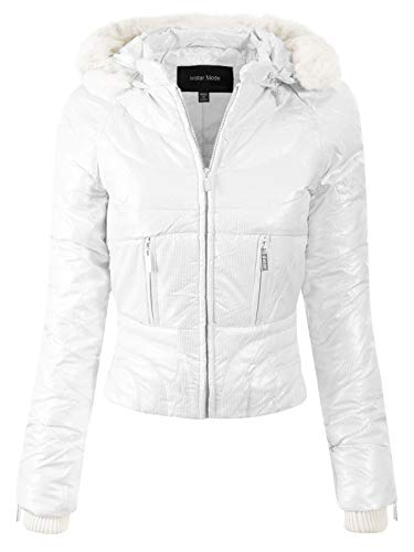Design by Olivia Women's Casual Warm Quilted Metallic Puffer Jacket with Detachable Hood White - Metallic Jacket Quilted