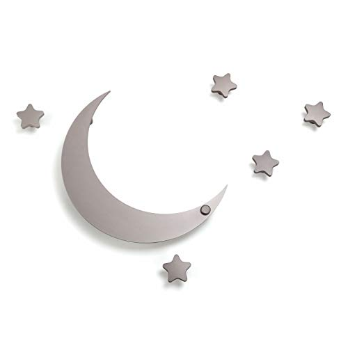 Star Hook Coat (SDH Decorative Coat Hooks Wall Mounted, Wall Decoration, Moon and Stars Theme, Modern, Heavy Duty, Garment Friendly, Pack of 5 Star Hooks and 1 Moon Hook,Silver Color)