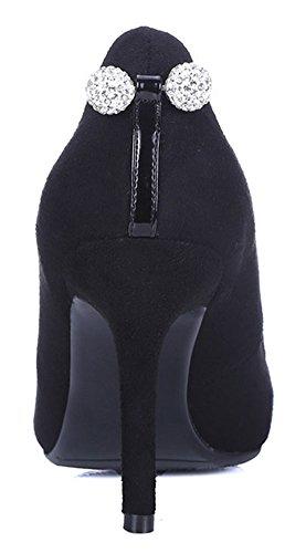 Easemax Womens Fashion Spetsig Tå Lågt Skuren Halka På Pumpar Paljetter Höga Stilett Klack Skor Svarta
