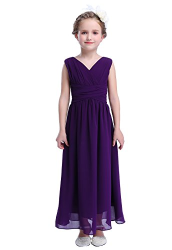 Happy Rose Flower Girl's Dress Party Dresses Juniors Long Bridesmaid Dress Purple 6 -
