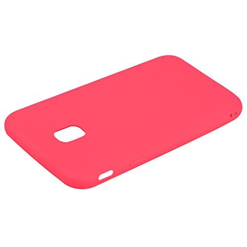Funda Silicona para Samsung Galaxy J3 2017, AllDo Carcasa Protectora Suave Funda Flexible Ligero Soft TPU Gel Case Cover Carcasa Ultra Delgado Caja de Diseño Simple Funda Color Sólido Carcasa Anti Ras Rojo