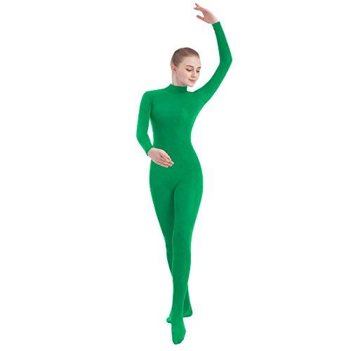 SUPRNOWA Unisex Mock Turtleneck Footed Spandex Long Sleeve Unitard (Medium, Green) ()