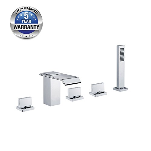 Contemporary 5PCS Waterfall Bath Tub Faucet with Handheld Shower, Chrome