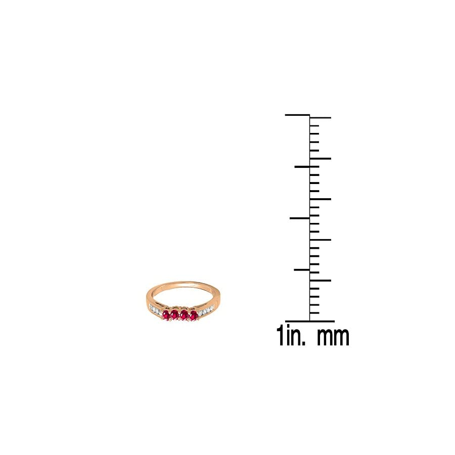 Dazzlingrock Collection 10K Gold Round Ruby & White Diamond Contour Anniversary Wedding Stackable Band Guard Ring