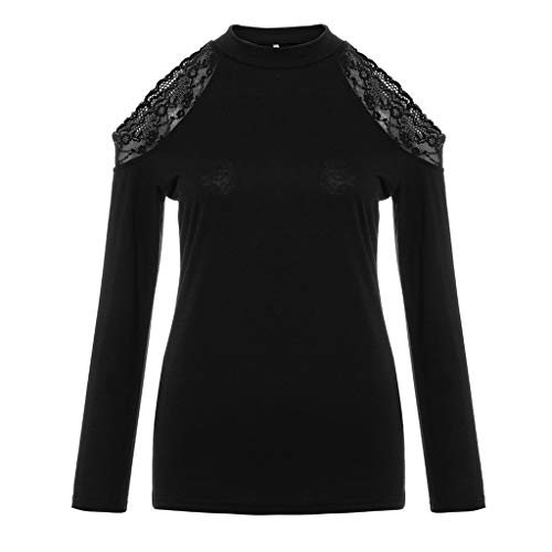 Price comparison product image Hotcl Summer Womens Off Shoulder Shirts, Casual Lace Trim Slim Fit Knit Tees Tunic Top Blouses, Best Gift for Valentine's Day