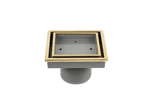 uare Shower Drain in Gold, Stainless Steel Marine 316 Frame + ABS, Lagos Series Veil Line, Kit includes: Hair Strainer, Key ()