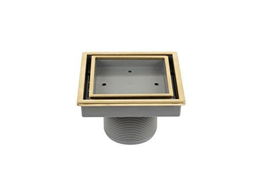 QM Tile-Insert 5 3/4 Inch Center/Square Shower Drain in Satin Gold, Stainless Steel Marine 316 Frame + ABS, Lagos Veil Line, 5 3/4 Inch Kit includes: Hair Strainer, Key ()