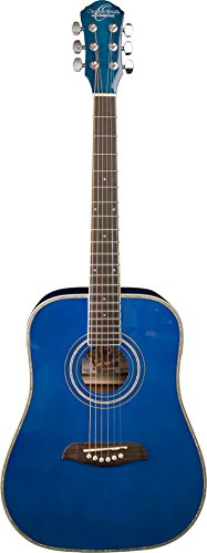 Oscar Schmidt OG1TBL-A-U 3/4 Size Dreadnought Acoustic Guitar (High Gloss Blue)