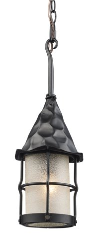 Landmark 388-BK Rustica 1-Light Outdoor Pendant, 18-Inch, Matte Black with Scavo - Outlet Tiffany Location Stores