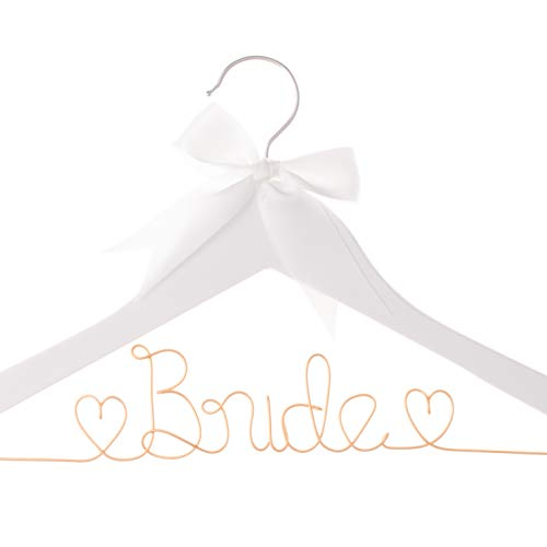 Ella Celebration Bride to Be Wedding Dress Hanger Wooden and Wire Hangers for Brides Gowns, Dresses (White with Rose Gold Wire)