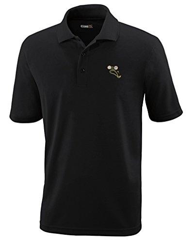 Speedy Pros Victorian Eye Glasses Emboirdery Unisex Adult Button-End Spread Short Sleeve Polyester Performance Polo Shirt Golf Shirt - Black, - Tampa Eyeglasses