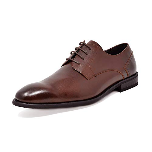 - Bruno Marc Men's Dark Brown Dress Shoes Plain Toe Oxfords Washington-1 Size 9.5 M US