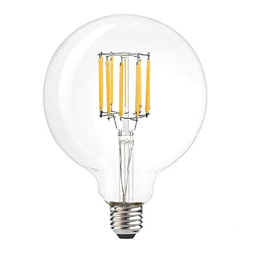 (LuxVista G40 LED Globular Shape Filament Bulb 10W Edison Style LED G125 Clear Soft Warm White Globe Light Medium Screw E26 Base 100W Incandescent Replacement)