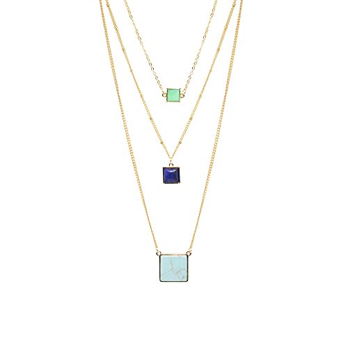 T-Doreen Layered Necklaces for Women Square Turquoise Stone Pendant Necklaces