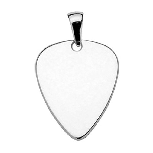 So Chic Jewels - 925 Sterling Silver Guitar Pick Pendant - Customisable: Your Message Engraved Free (Guitar Silver Pick Sterling Necklace)