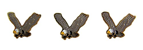 School Mascot Gold Toned with Enamel Lapel Pin, Pack of 3 (Eagle)